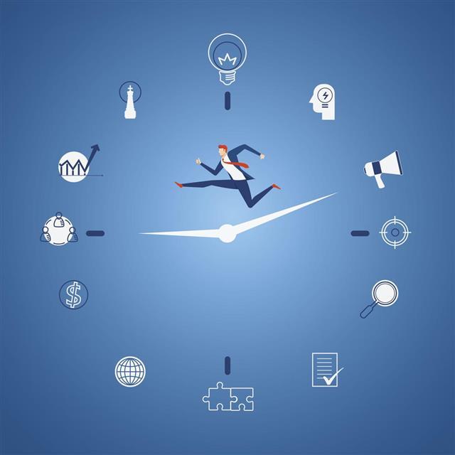 man running between the hands of hands of a clock