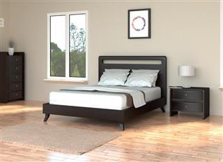 Modern Bedroom with hardwood floor