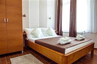 Modest brown motel room