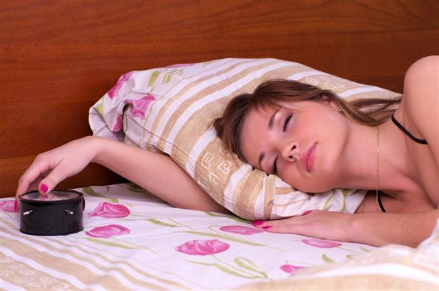 Woman sleep in bed