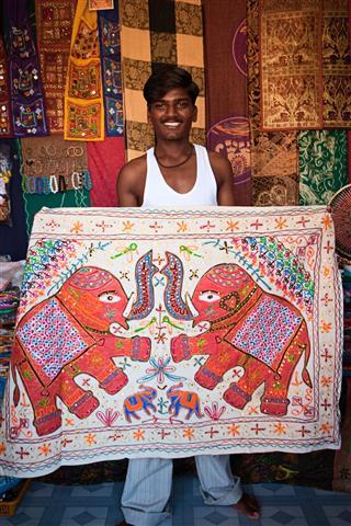 Indian Boy Showing Blanket