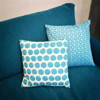 Stylish Cushions Decorating Blue Sofa
