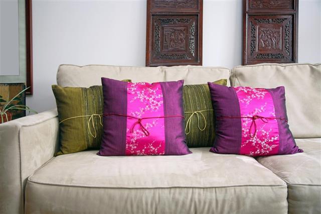Silk Cushions On Sofa