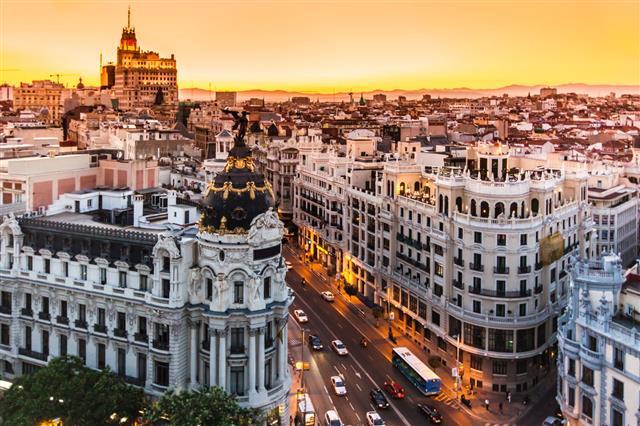 Aerial View Of Gran Via Madrid Spain