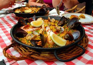 A Black Pan Of Paella