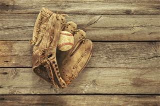 Old Baseball And Mitt