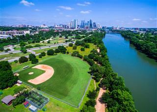 Paradise Cityscape Aerial Baseball Field