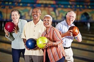 Seniors At Bowling Alley