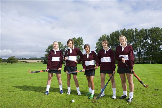 Teenage Girl Field Hockey Team