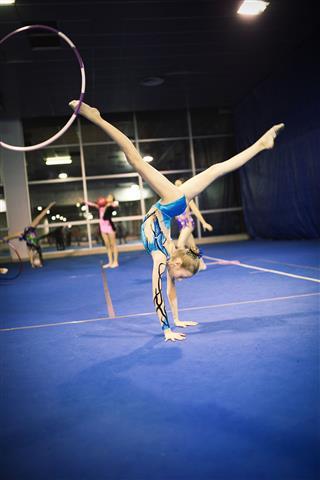 Rhythmic Gymnastics Group Practicing