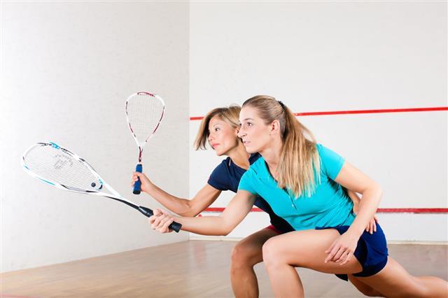 Squash Sport Women Playing At Gym