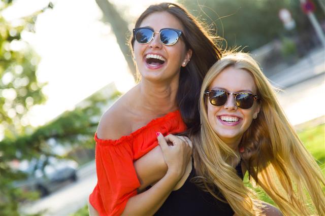 Beautiful Young Women Having Fun