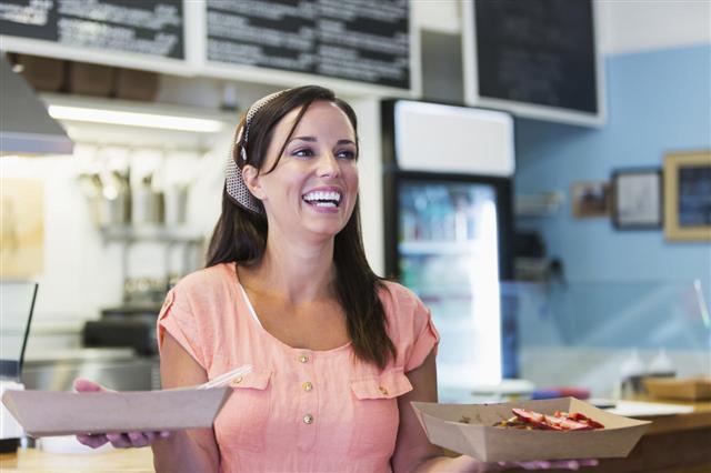 Waitress In Waffle Shop
