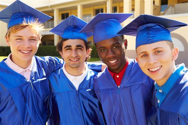 Group Of Male Students Celebrating Graduation