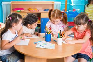 Group Of Preschool Kids Drawing