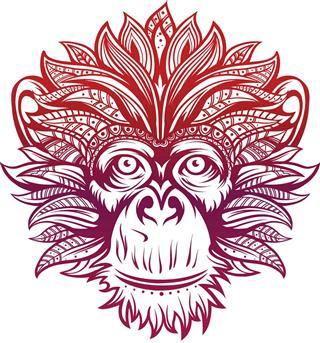 Fire ornate monkey head
