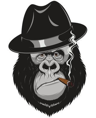Monkey smoking tattoo