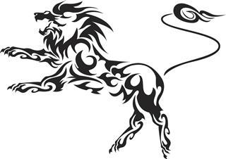 Tribal lion illustration