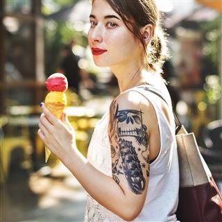 Beautiful woman with ice cream