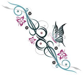 Feminine Tribal Butterfly Tattoo