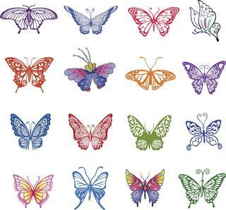 Butterfly tattoo set