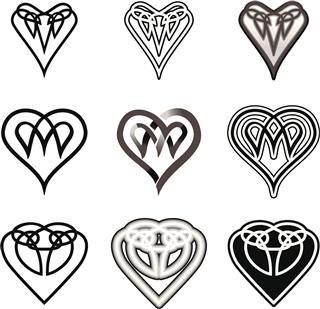 Set of Celtic Hearts