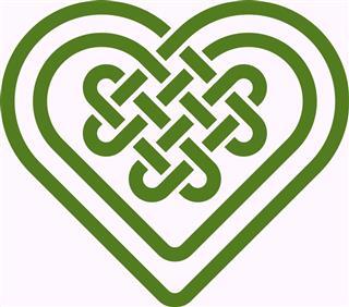 Celtic green heart shape