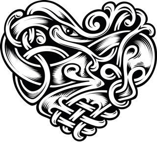 Heart vector celtic pattern