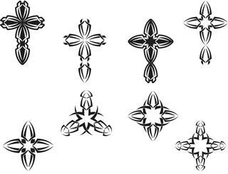 Tribal cross tattoo set