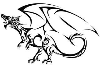 Image of tribal dragon tattoo