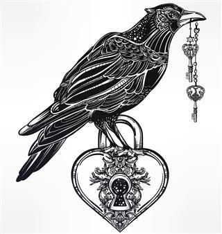 Hand drawn raven bird