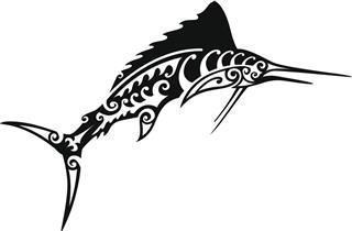 Tribal Marlin Fish Tattoo