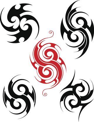 Black and red hawaiian tattoo