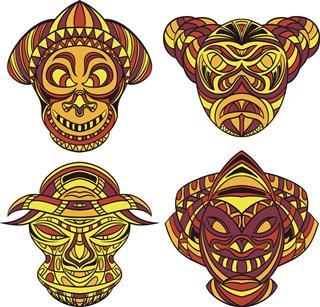 Tribal mask of hawaiian tattoo