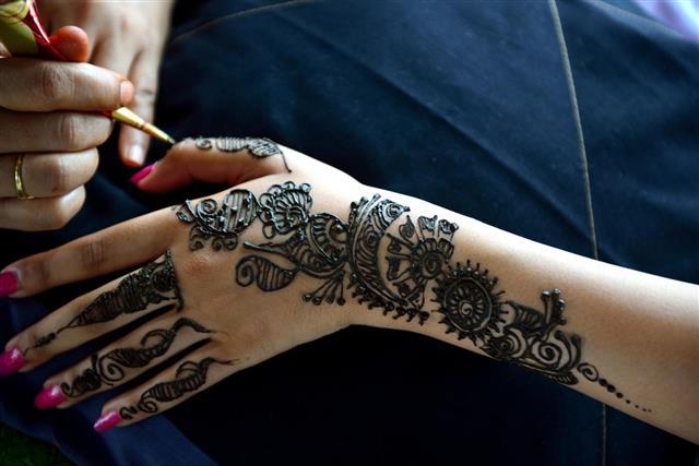Henna on human hand