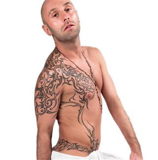 Tattooed adult man