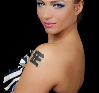 Beautiful lady with tattoo