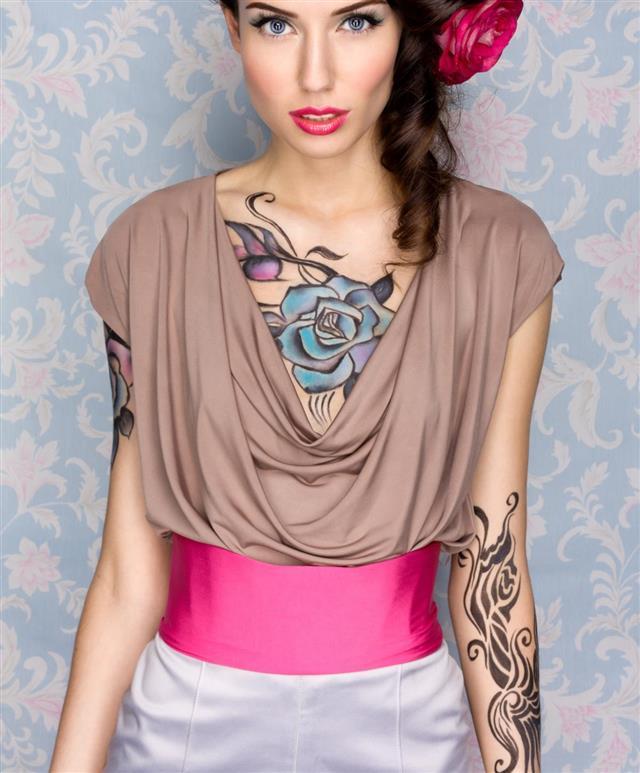 Model with body art tattoo