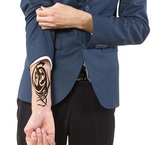 Hidden Tattoo On Caucasian Businessman