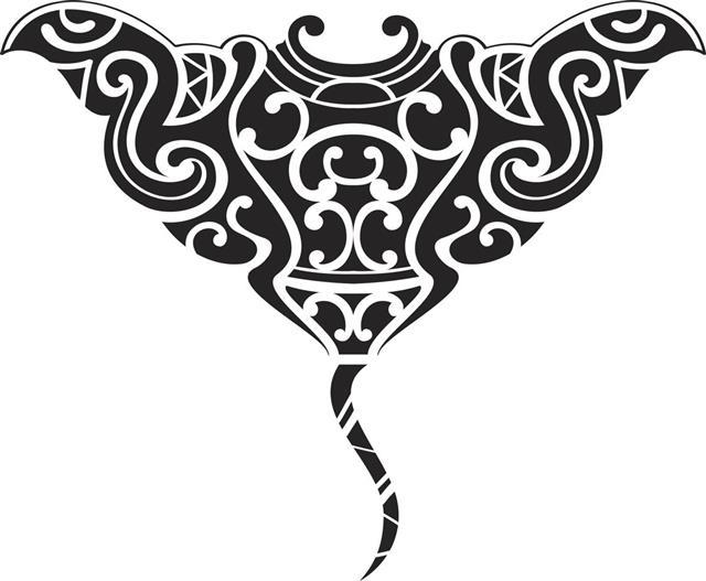 Tribal stingray fish tattoo