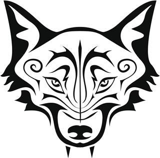 Wolf head tattoo style