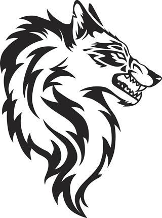 Illustration of wolf face tattoo