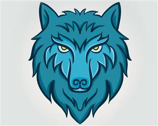 Blue design of wolf head