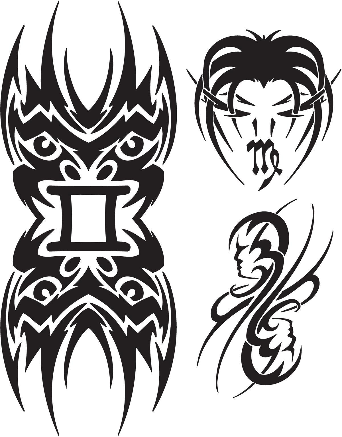 tribal zodiac tattoos. Black Bedroom Furniture Sets. Home Design Ideas