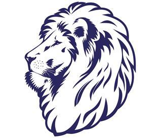 Blue lion head tattoo