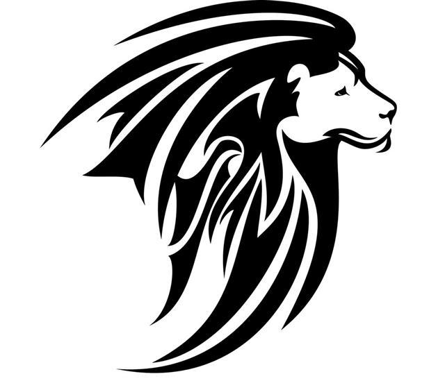 Lion head tribal design