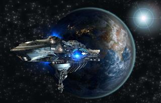 Interstellar Spaceship Leaving Earth