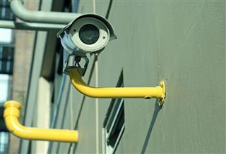 Surveillance Camera On Building