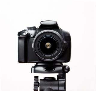 Slr Camera On A Tripod