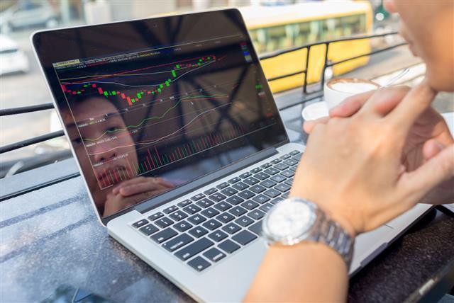 Investor Watching Stock Market On Laptop